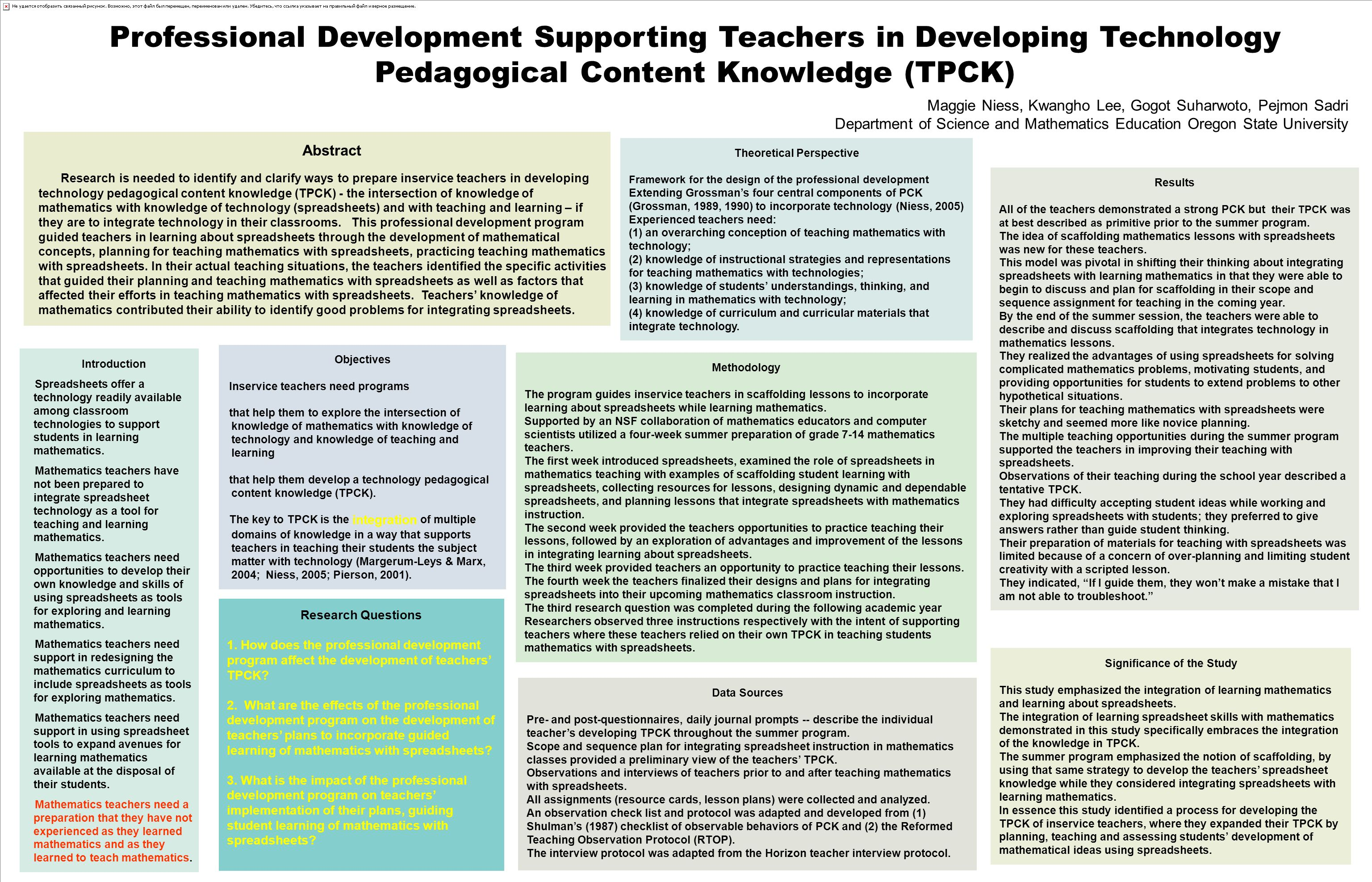 Professional Development Supporting Teachers in Developing Technology Pedagogical Content Knowledge (TPCK) Abstract Research is needed to identify and clarify ways to prepare inservice teachers in developing technology pedagogical content knowledge (TPCK) - the intersection of knowledge of mathematics with knowledge of technology (spreadsheets) and with teaching and learning – if they are to integrate technology in their classrooms.