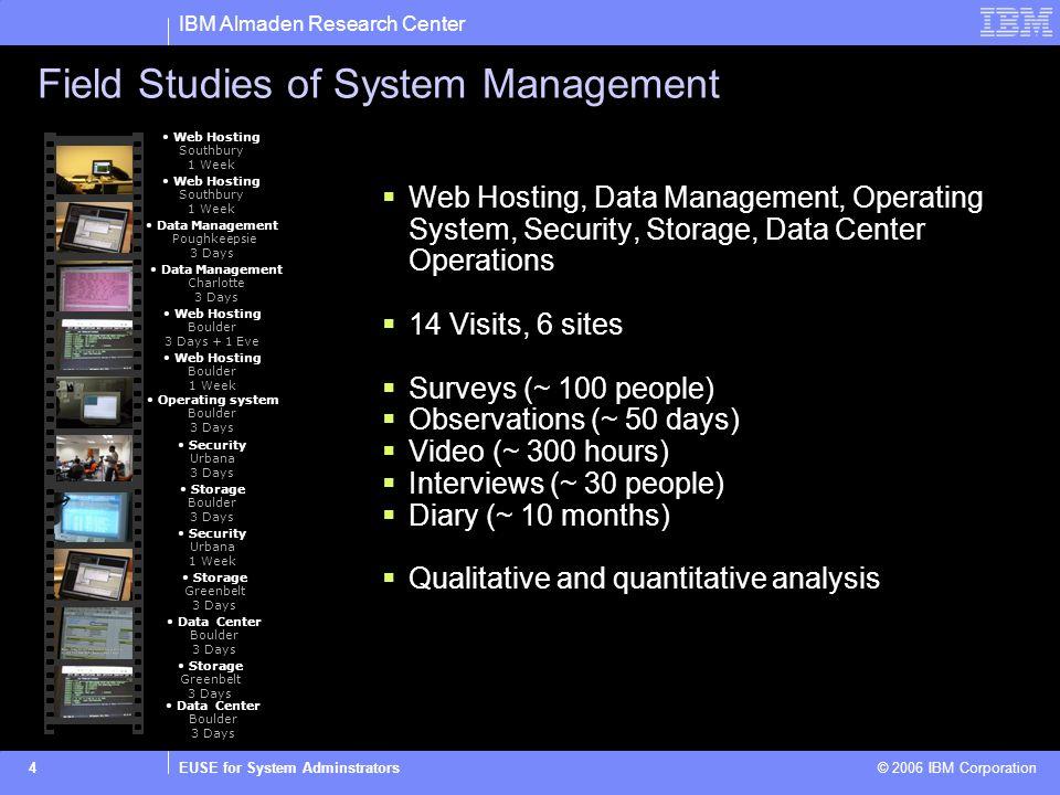 IBM Almaden Research Center EUSE for System Adminstrators © 2006 IBM Corporation4 Field Studies of System Management Web Hosting, Data Management, Ope