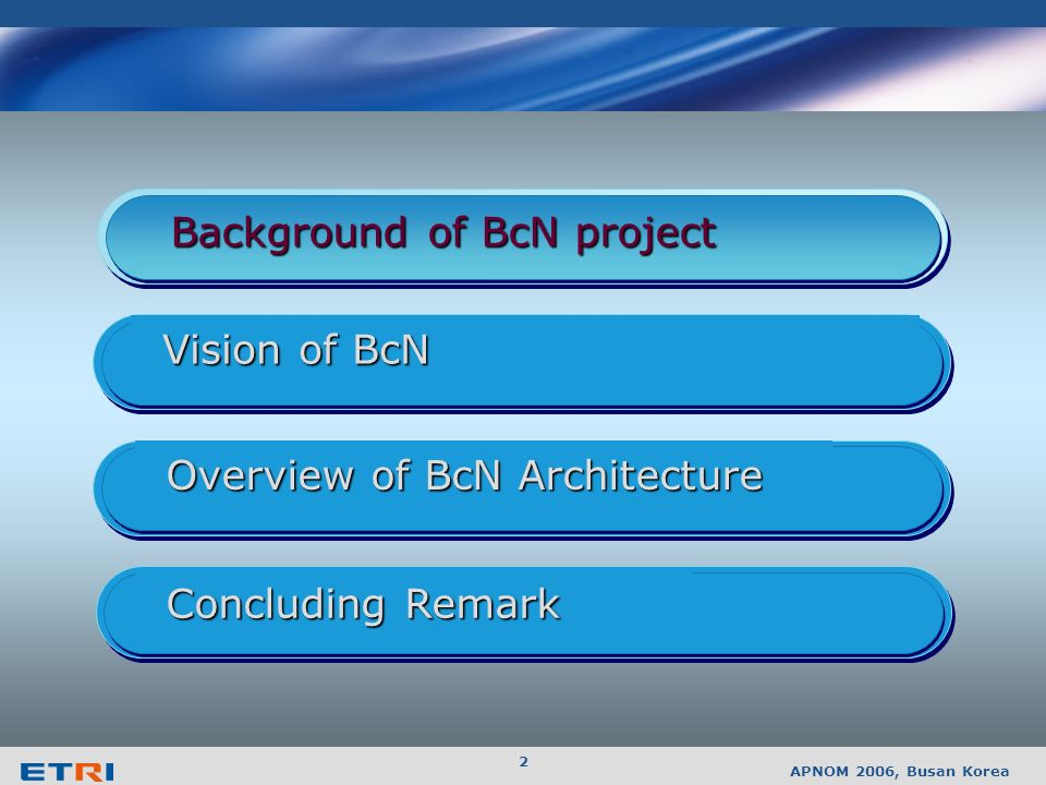 APNOM 2006, Busan Korea 1 Contents Background of BcN project Overview of BcN Architecture Vision of BcN Concluding Remark