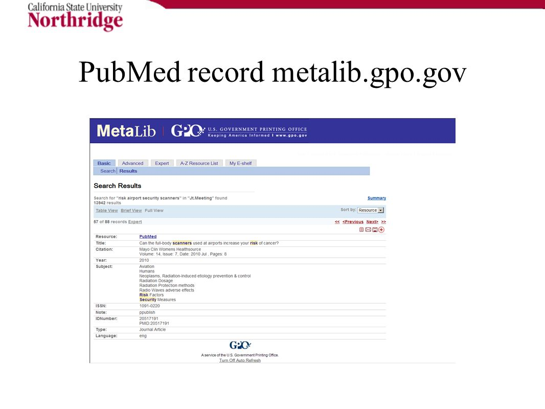 PubMed record metalib.gpo.gov