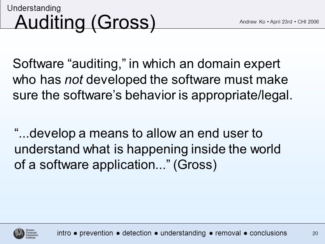 Andrew Ko April 23rd CHI 2006 intro prevention detection understanding removal conclusions Understanding 20 Auditing (Gross)...develop a means to allow an end user to understand what is happening inside the world of a software application...
