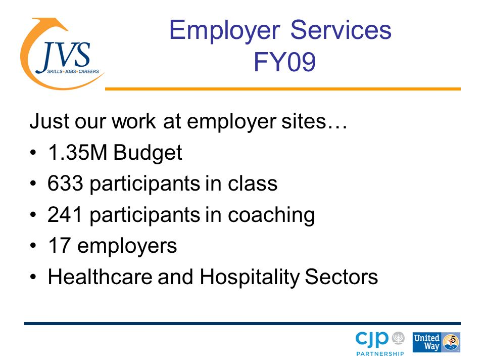 5 Employer Services FY09 Just our work at employer sites… 1.35M Budget 633 participants in class 241 participants in coaching 17 employers Healthcare and Hospitality Sectors