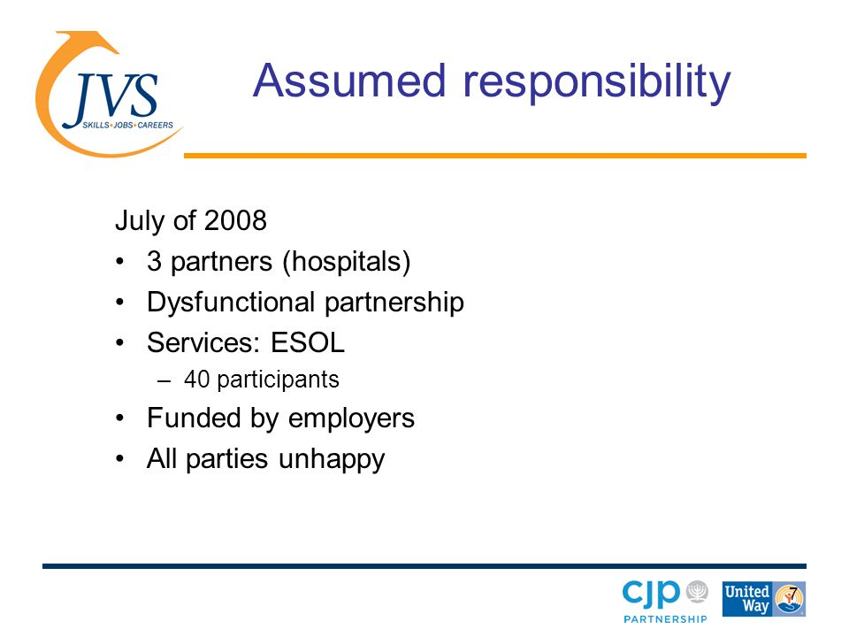 7 Assumed responsibility July of partners (hospitals) Dysfunctional partnership Services: ESOL –40 participants Funded by employers All parties unhappy