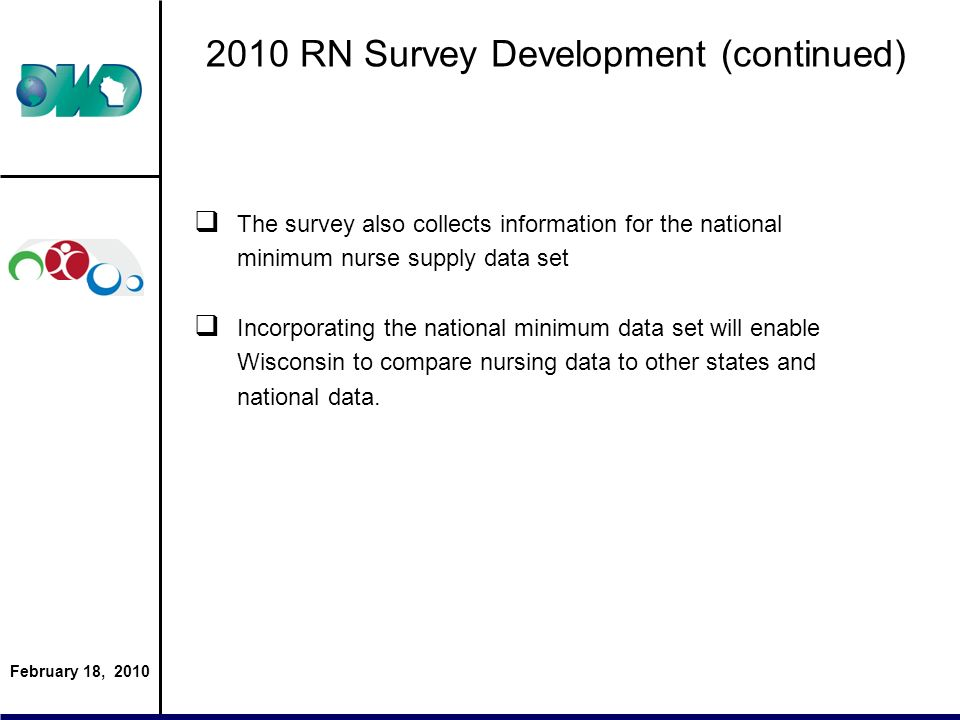 February 18, 2010 2010 RN Survey Development (continued) The survey also collects information for the national minimum nurse supply data set Incorpora