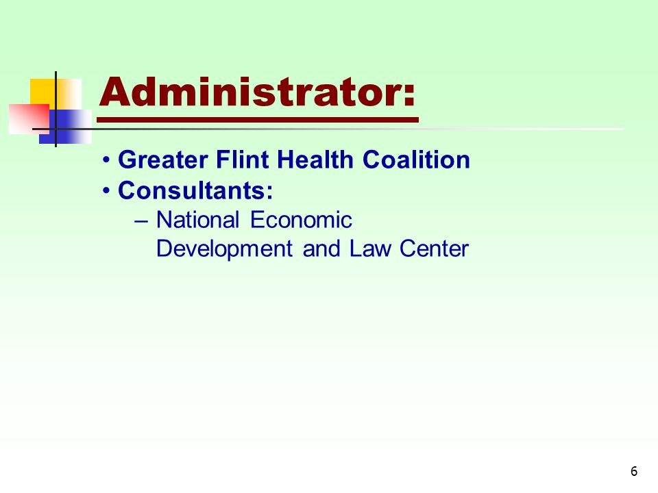 6 Administrator: Greater Flint Health Coalition Consultants: –National Economic Development and Law Center