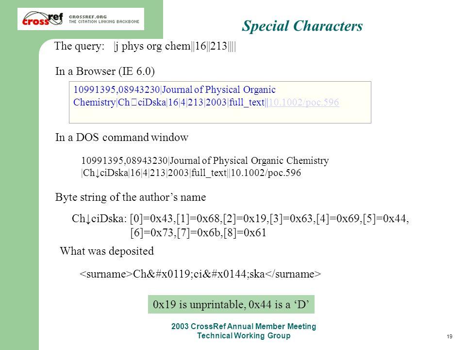 19 2003 CrossRef Annual Member Meeting Technical Working Group 10991395,08943230 Journal of Physical Organic Chemistry  ChciDska 16 4 213 2003 full_te