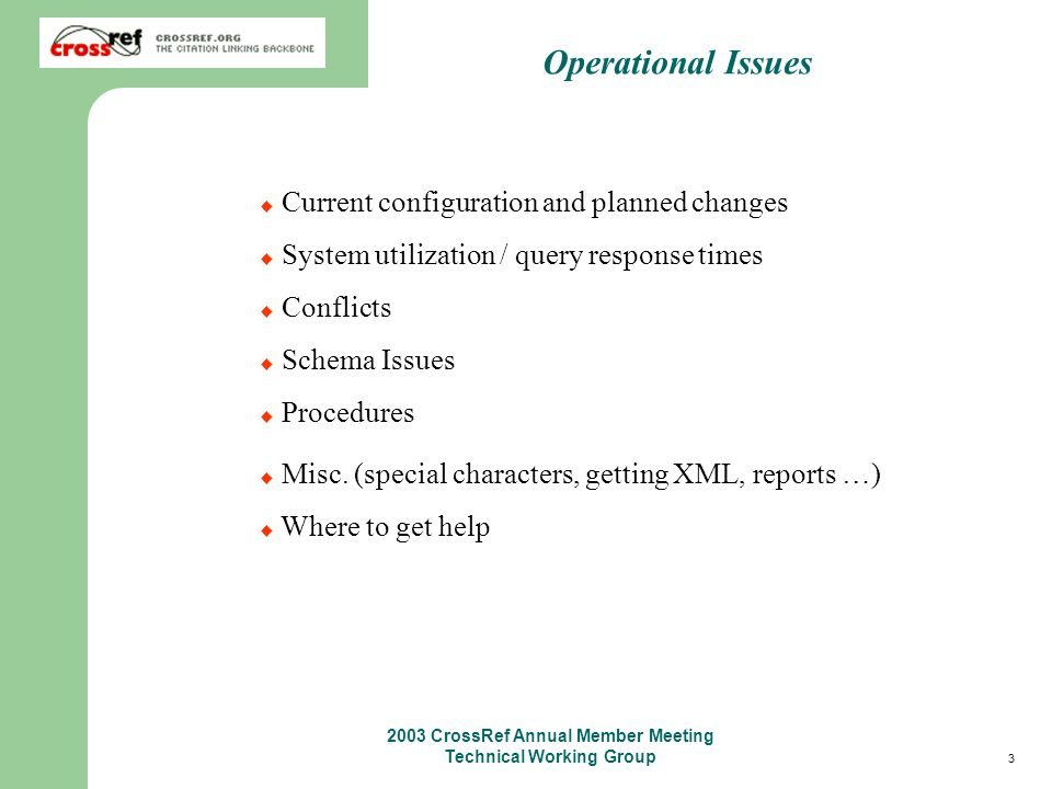 34 2003 CrossRef Annual Member Meeting Technical Working Group Forward Matching Each stored query is identified by user assigned attributes The query must be given a unique key The request must have a unique batch-id Identical queries are stored once, multiple users may be associated with one query When a stored query matches an email is sent with the XML results (one email per query) Users may poll for stored queries that have matched http://doi.crossref.org/servlet/downloadStoredQueries.