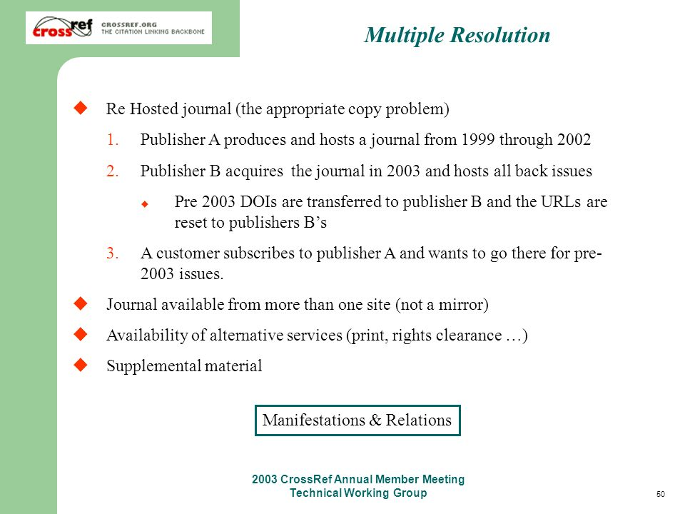 50 2003 CrossRef Annual Member Meeting Technical Working Group Multiple Resolution Re Hosted journal (the appropriate copy problem) 1.Publisher A produces and hosts a journal from 1999 through 2002 2.Publisher B acquires the journal in 2003 and hosts all back issues Pre 2003 DOIs are transferred to publisher B and the URLs are reset to publishers Bs 3.A customer subscribes to publisher A and wants to go there for pre- 2003 issues.