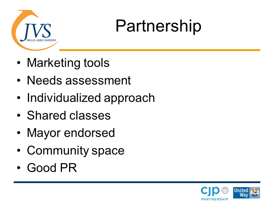 12 Partnership Marketing tools Needs assessment Individualized approach Shared classes Mayor endorsed Community space Good PR