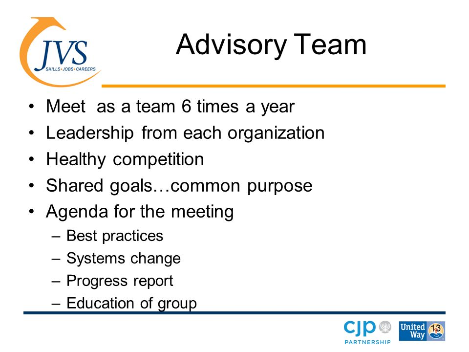 13 Advisory Team Meet as a team 6 times a year Leadership from each organization Healthy competition Shared goals…common purpose Agenda for the meeting –Best practices –Systems change –Progress report –Education of group
