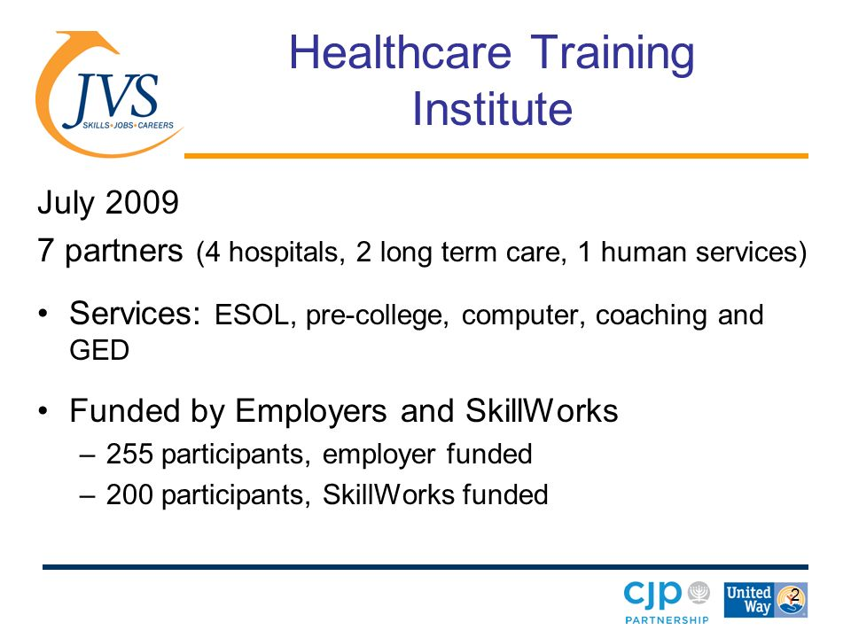2 Healthcare Training Institute July 2009 7 partners (4 hospitals, 2 long term care, 1 human services) Services: ESOL, pre-college, computer, coaching and GED Funded by Employers and SkillWorks –255 participants, employer funded –200 participants, SkillWorks funded