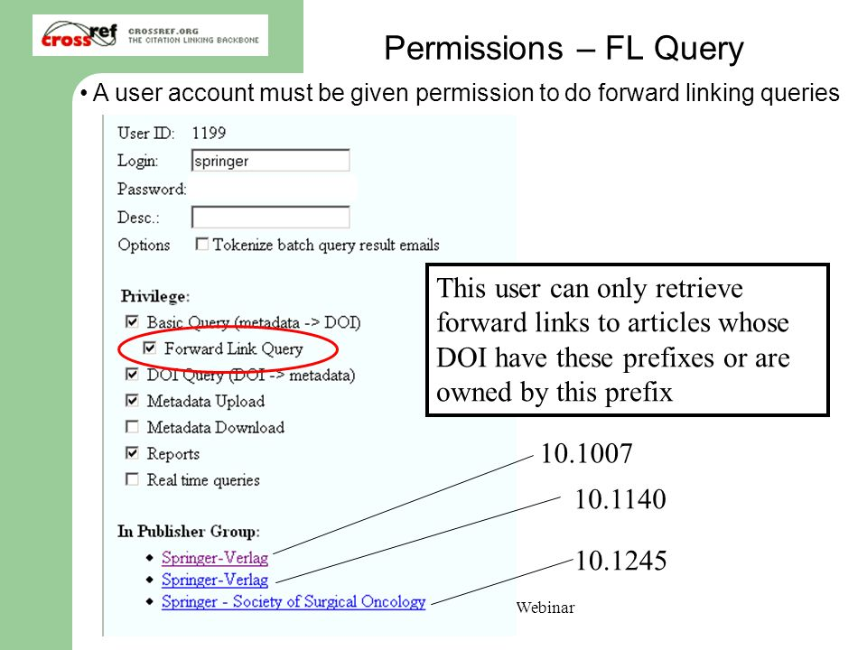 CrossRef Forward Linking Webinar April 30, 2007 Permissions – FL Query A user account must be given permission to do forward linking queries This user can only retrieve forward links to articles whose DOI have these prefixes or are owned by this prefix
