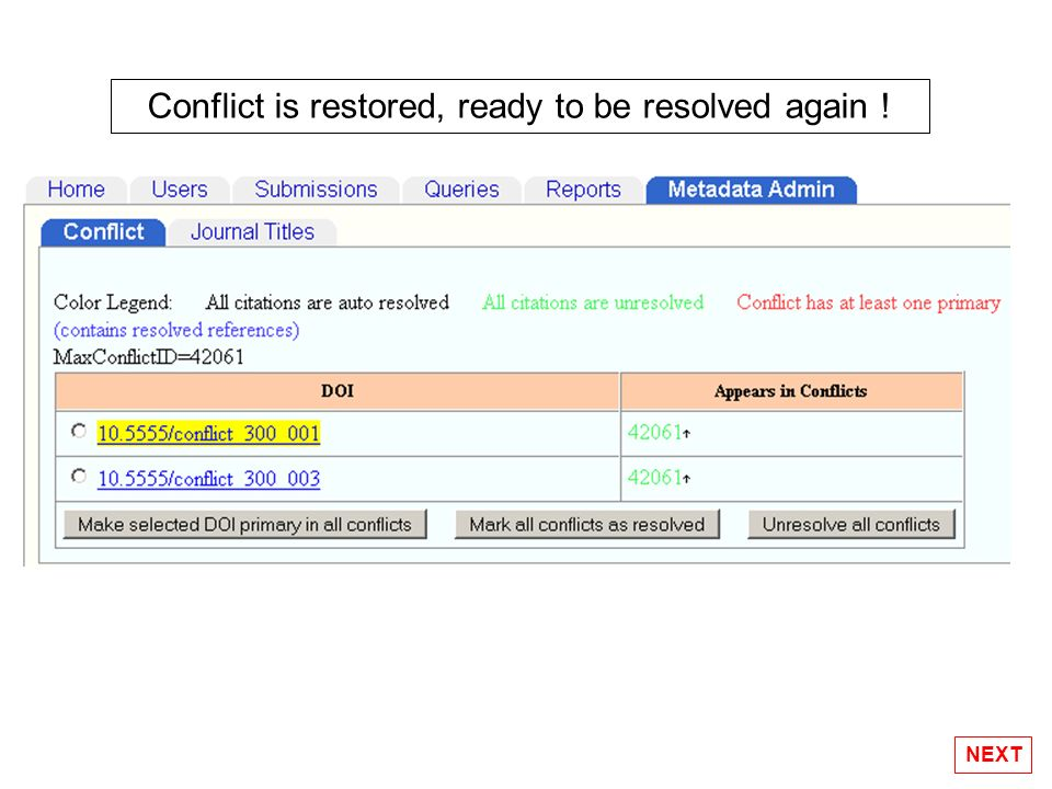 Conflict is restored, ready to be resolved again !