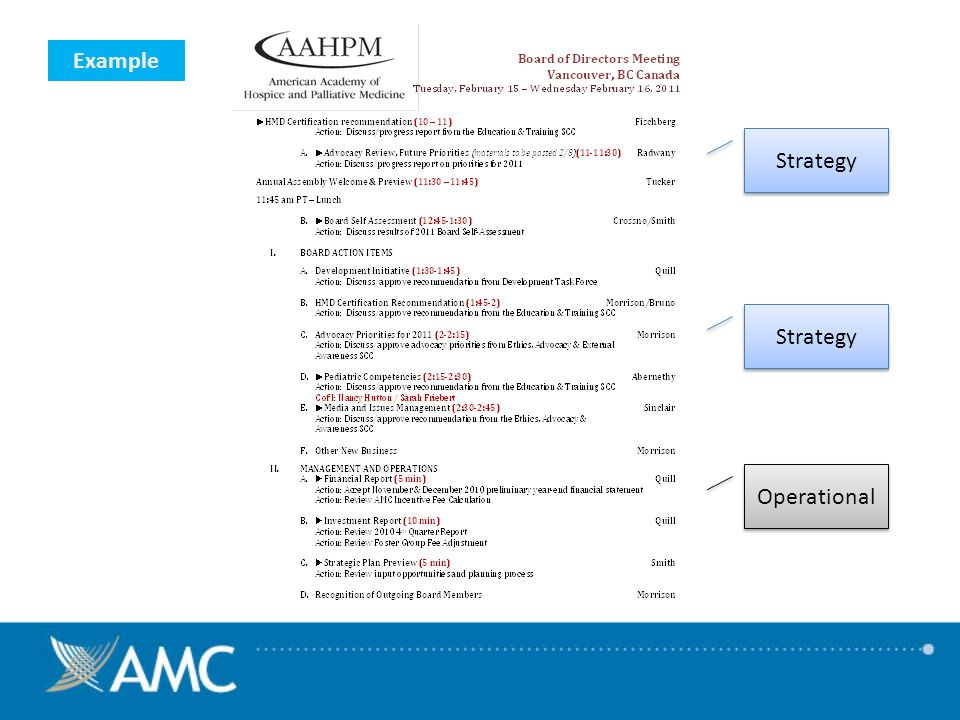 Example Operational Strategy
