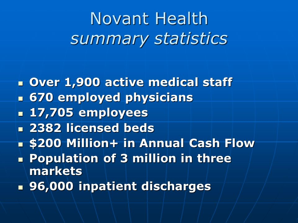 Novant Health at a Glance Novant Health is a not-for-profit integrated healthcare system in Western North Carolina that serves more than 3.4 million p