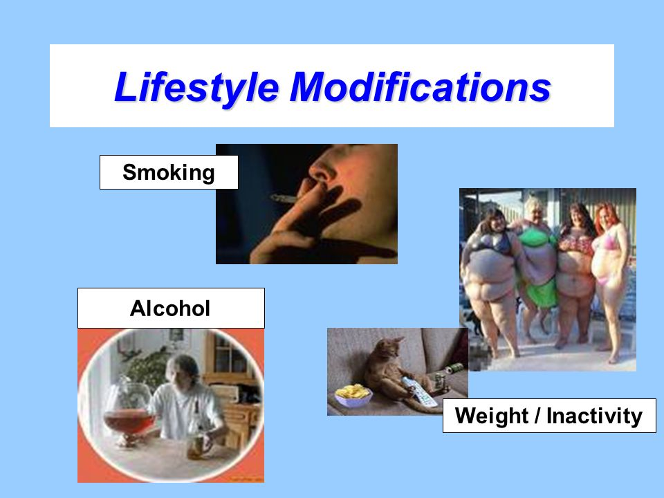 Lifestyle Modifications Smoking Weight / Inactivity Alcohol