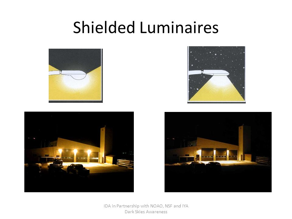 Shielded Luminaires IDA in Partnership with NOAO, NSF and IYA Dark Skies Awareness