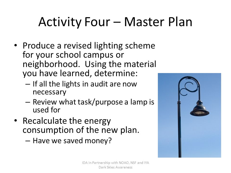 Activity Four – Master Plan Produce a revised lighting scheme for your school campus or neighborhood.