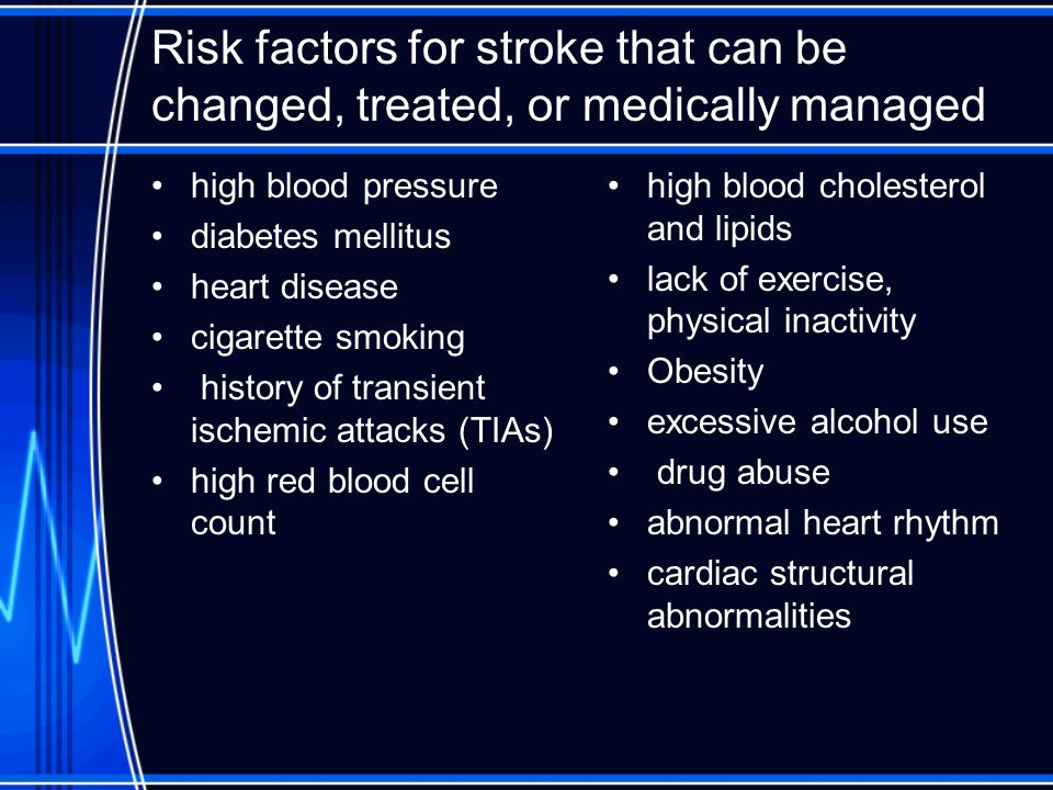 Risk factors for stroke that can be changed, treated, or medically managed high blood pressure diabetes mellitus heart disease cigarette smoking histo