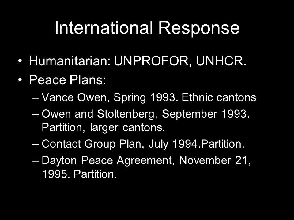 International Response Humanitarian: UNPROFOR, UNHCR.