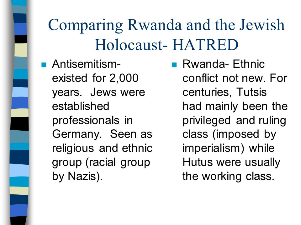 Comparing Rwanda and the Jewish Holocaust- HATRED n Antisemitism- existed for 2,000 years. Jews were established professionals in Germany. Seen as rel
