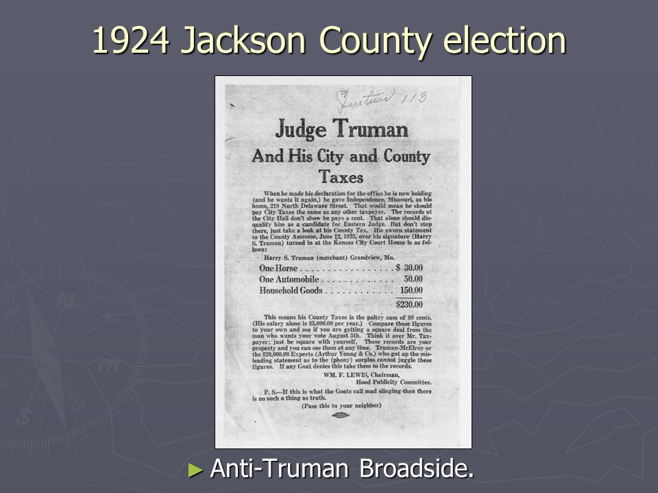 1924 Jackson County election Anti-Truman Broadside.