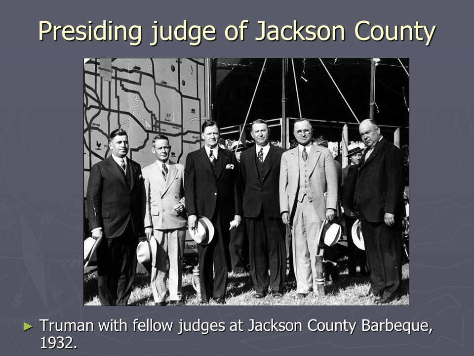 Presiding judge of Jackson County Truman with fellow judges at Jackson County Barbeque, 1932.