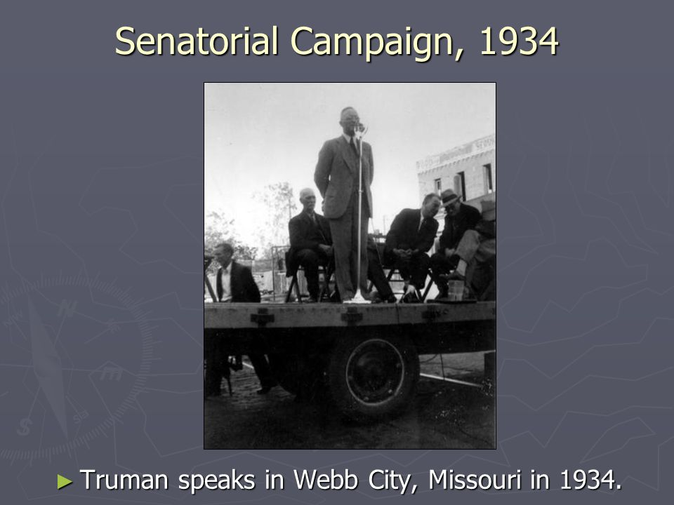 Senatorial Campaign, 1934 Truman speaks in Webb City, Missouri in 1934.