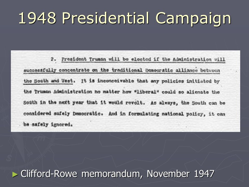 1948 Presidential Campaign Clifford-Rowe memorandum, November 1947