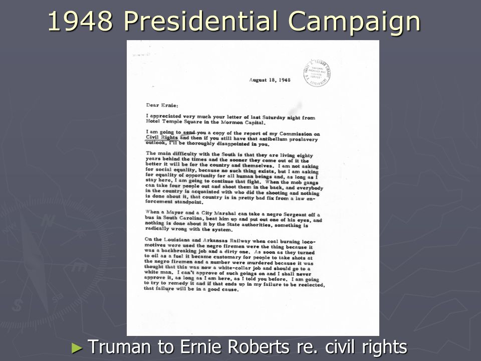 1948 Presidential Campaign Truman to Ernie Roberts re. civil rights