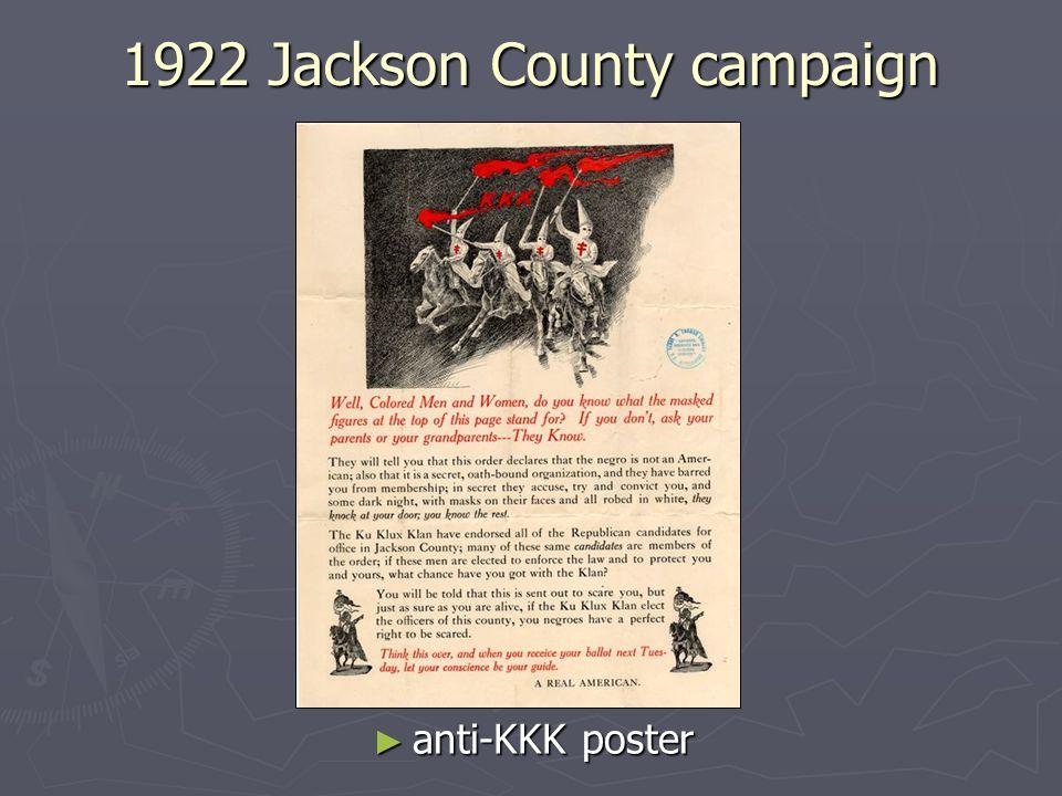 1922 Jackson County campaign anti-KKK poster