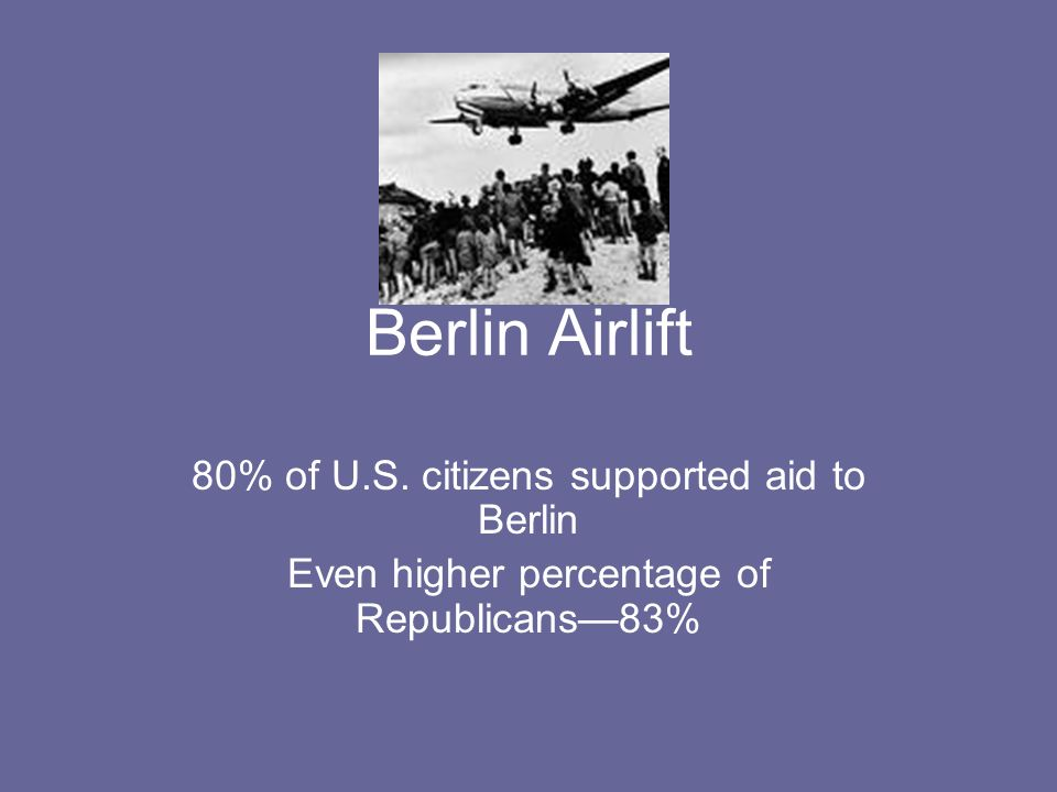 Berlin Airlift 80% of U.S. citizens supported aid to Berlin Even higher percentage of Republicans83%