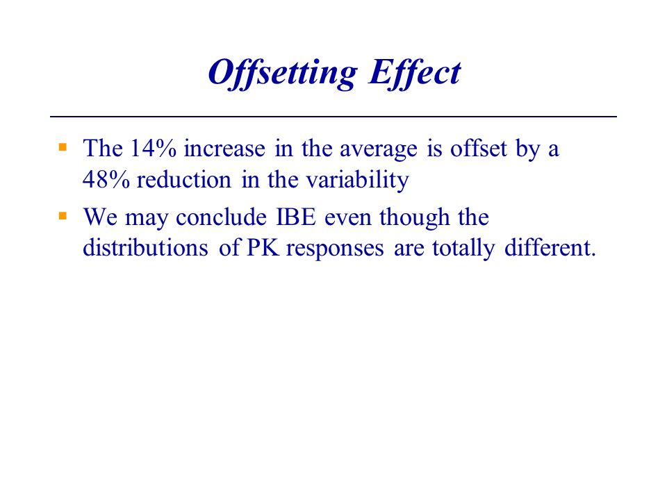 Offsetting Effect The 14% increase in the average is offset by a 48% reduction in the variability We may conclude IBE even though the distributions of