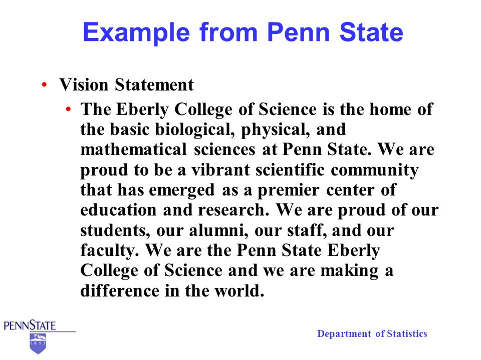 Department of Statistics The Engaged Department Goal: The engaged department All members pulling toward the same goal Faculty who want to do their part Staff who understand the mission and priorities