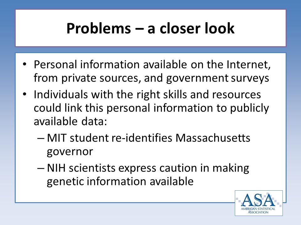 Personal information available on the Internet, from private sources, and government surveys Individuals with the right skills and resources could lin