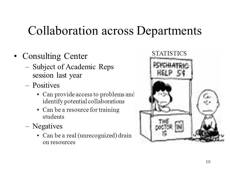 10 Collaboration across Departments Consulting Center –Subject of Academic Reps session last year –Positives Can provide access to problems and identify potential collaborations Can be a resource for training students –Negatives Can be a real (unrecognized) drain on resources STATISTICS