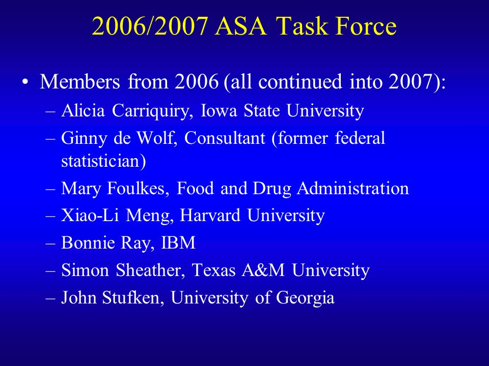 Composition (contd) New member for 2007: –Yasmin Said, Johns Hopkins University Liaisons: –Alan Karr, Chair, Federally Funded Research Committee –David Marker, Chair, Scientific and Public Affairs Advisory Committee –Bill Smith, ASA