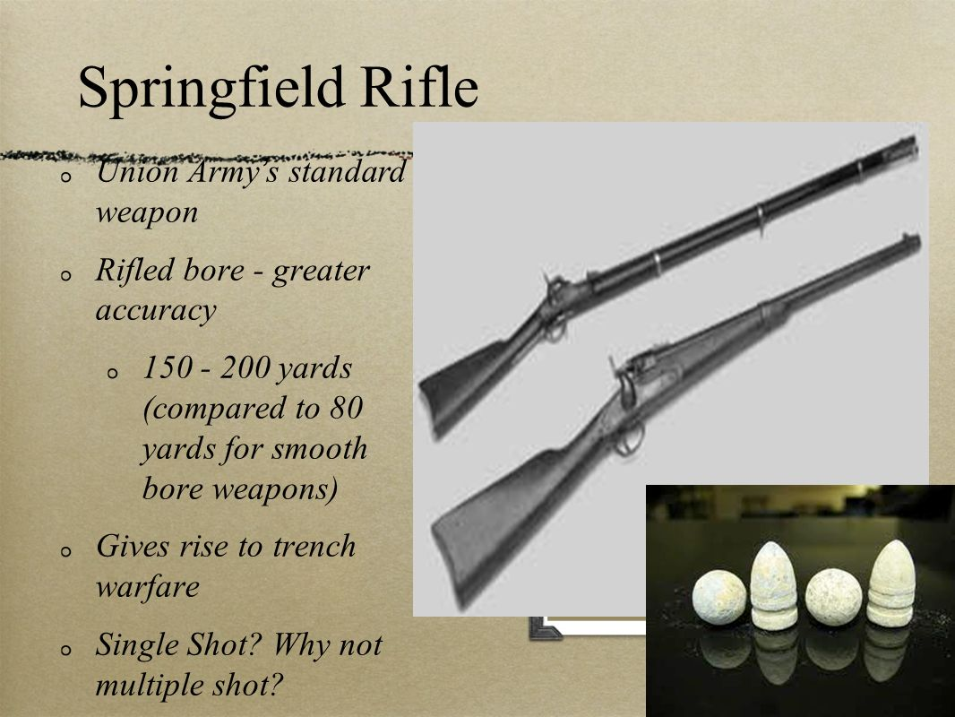 Springfield Rifle Union Armys standard weapon Rifled bore - greater accuracy 150 - 200 yards (compared to 80 yards for smooth bore weapons) Gives rise