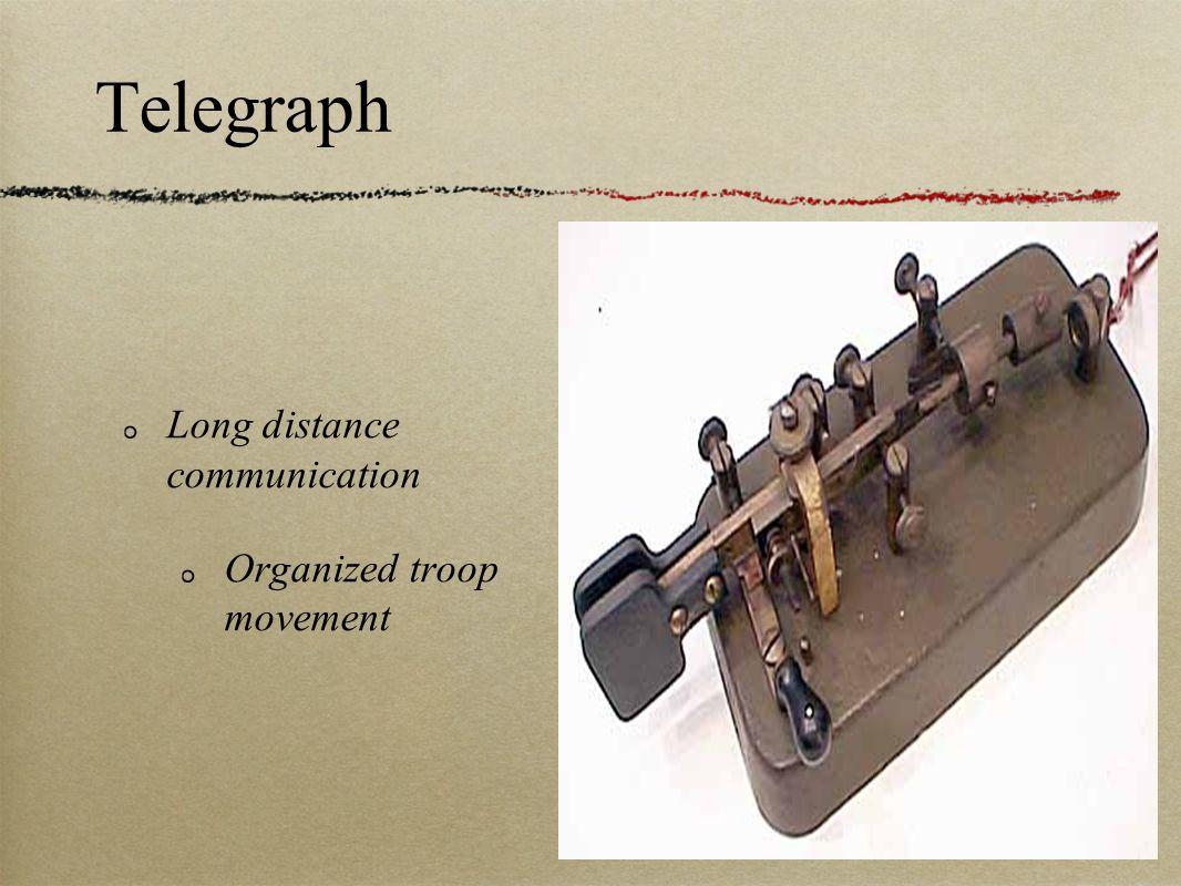 Telegraph Long distance communication Organized troop movement