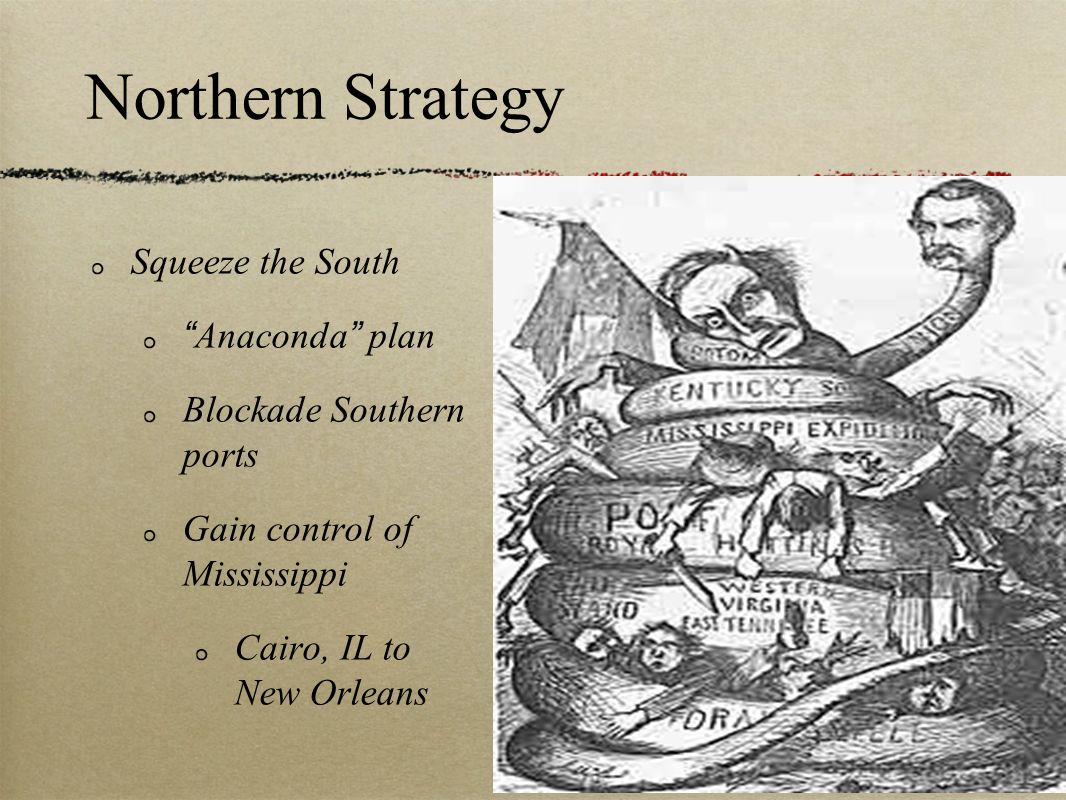 Northern Strategy Isolate and disorganize Confederacy Southern Union sympathizers get South to surrender Designed by Gen.