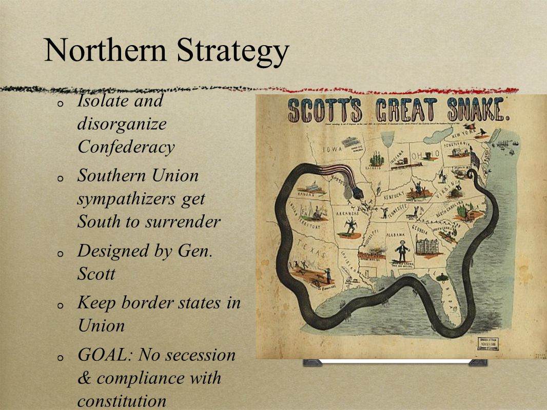 Northern Strategy Isolate and disorganize Confederacy Southern Union sympathizers get South to surrender Designed by Gen. Scott Keep border states in