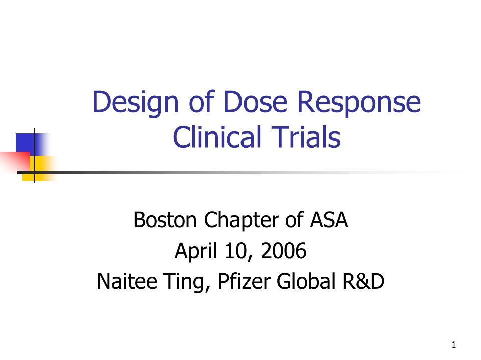 1 Design of Dose Response Clinical Trials Boston Chapter of ASA April 10, 2006 Naitee Ting, Pfizer Global R&D