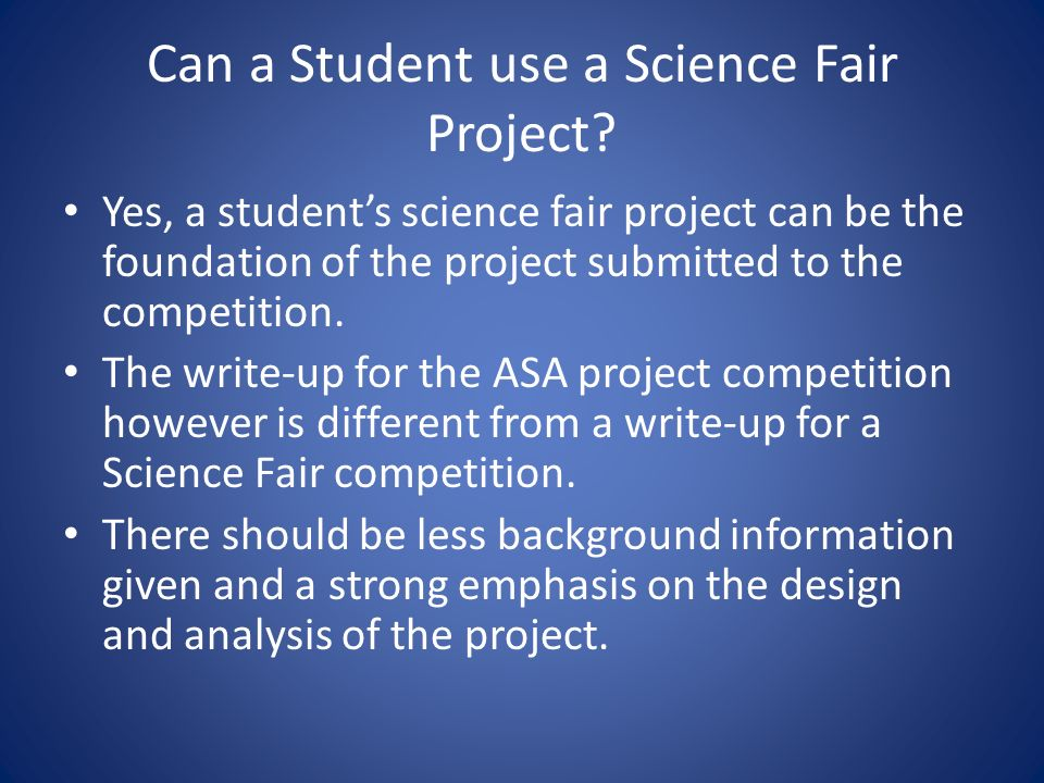 Can a Student use a Science Fair Project.