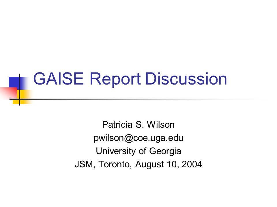 GAISE Report Discussion Patricia S.