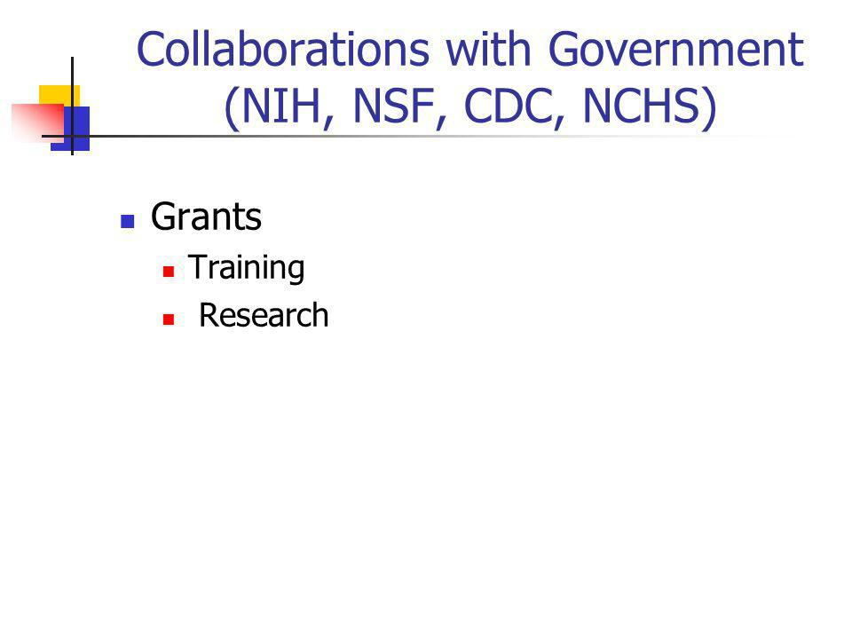 Collaborations with Government (NIH, NSF, CDC, NCHS) Grants Training Research