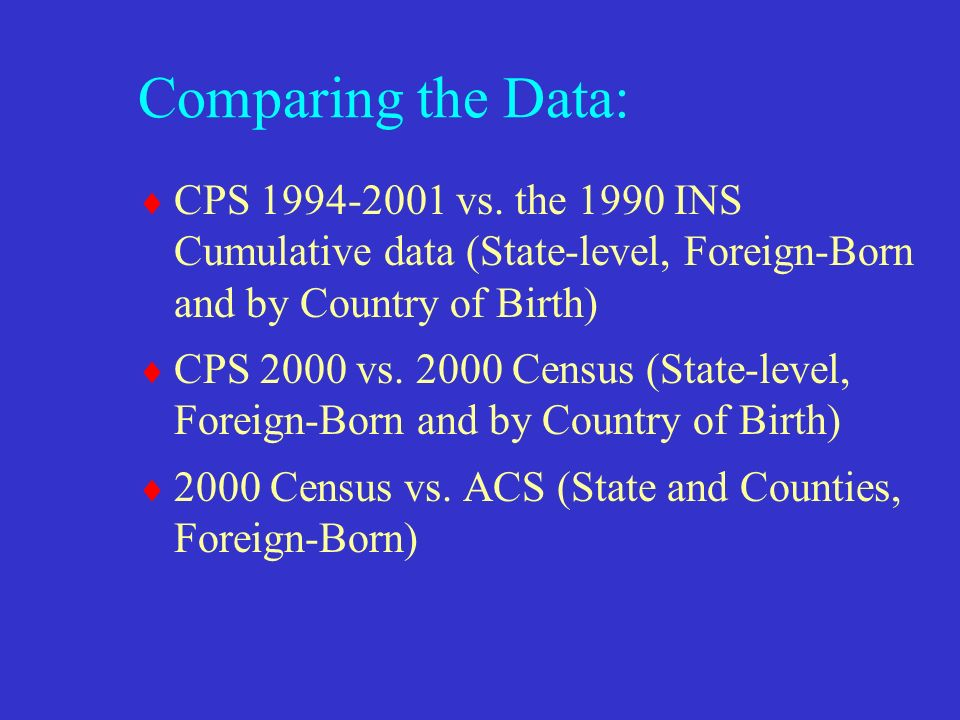 Comparing the Data: CPS vs.