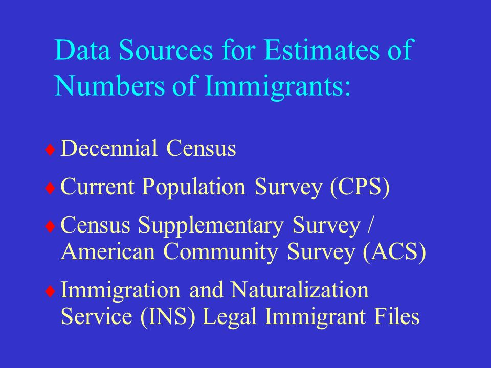 Data Sources for Estimates of Numbers of Immigrants: Decennial Census Current Population Survey (CPS) Census Supplementary Survey / American Community Survey (ACS) Immigration and Naturalization Service (INS) Legal Immigrant Files