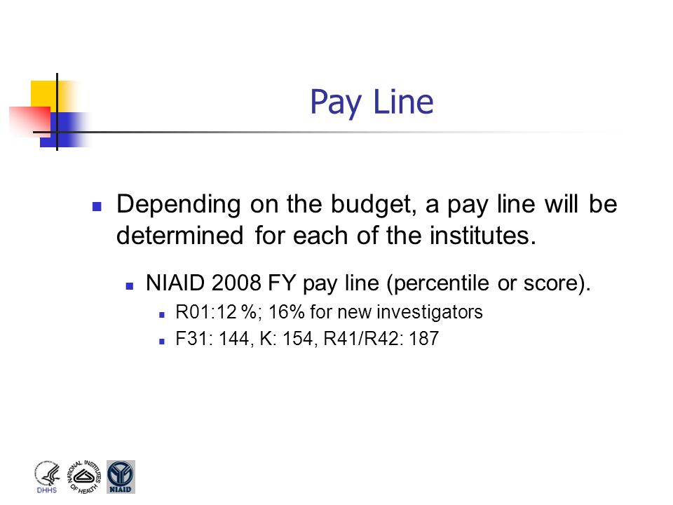 Pay Line Depending on the budget, a pay line will be determined for each of the institutes. NIAID 2008 FY pay line (percentile or score). R01:12 %; 16