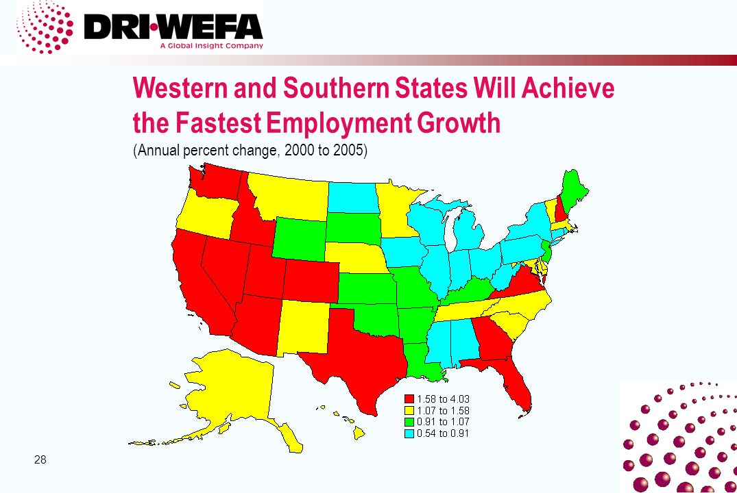 28 Western and Southern States Will Achieve the Fastest Employment Growth (Annual percent change, 2000 to 2005)