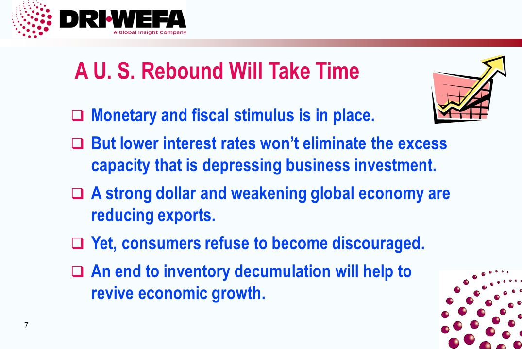 7 7 A U. S. Rebound Will Take Time q Monetary and fiscal stimulus is in place.